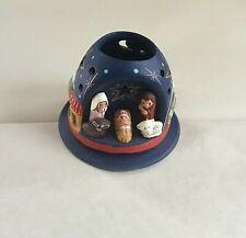 Handmade Peru Ceramic  MOUNTAIN NATIVITY + BASE -  FGC  holds tealight  3.25in