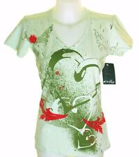 Bnwt Authentic Women's Oakley Stretch V Neck T Shirt Medium Exploding Heart
