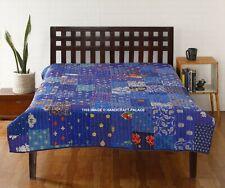 Vintage Patchwork Silk Kantha Quilt Handmade Twin Bedspread Throw Blanket Blue
