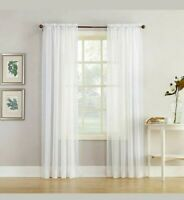 Home Expression Jacqueline Rod-Pocket Sheer Panel Pair Curtain 59 x 54 White