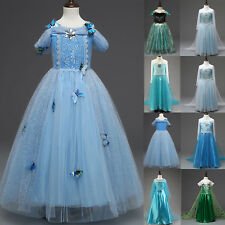 Frozen Elsa Anna Princess Dress Girls Kids Party Christmas Cosplay Fancy Costume