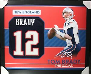 TOM BRADY Custom Jersey Framed 35x43