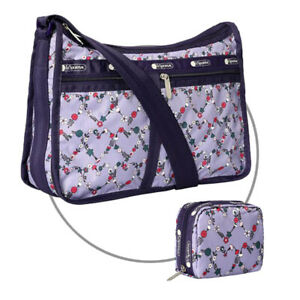 LeSportsac Combo Deluxe Everyday Bag / Square Cosmetic in Hudson Hearts Purple