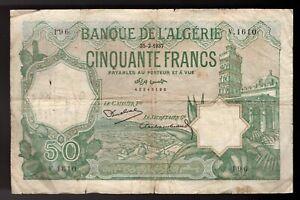 1937 FRENCH ALGERIA, 50 FRANCS, Pic# 80a