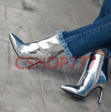 Womens Shiny Ankle Boots Stiletto High Heel Pointed Toe Sexy shoes Lady party sz
