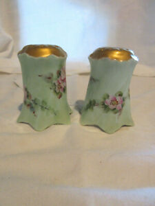 Antique RC Versailles Bavaria Green Gold Floral Salt Pepper Shakers CA