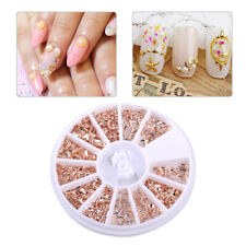 12 Shapes Rose Gold Metal Manicure Nail Sticker Art Decoration Wheel Round Box