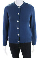 A.P.C. Womens Crew Neck Button Down Cardigan Sweater Blue Wool Size Extra Small