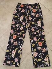 Lillie Rubin Black Floral Pants Fully Lined Size 10