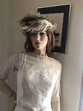 Victorian Tanwool Felt Ladies Hat Ostrich Feathers Plumes White
