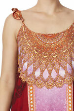 Colourful Rockmans Sleeveless Ruffle Strap Henna Print Maxi rrp $79,new size 14