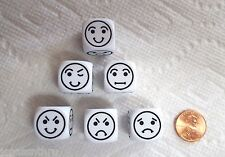 DICE - *SIX* CHX' 18mm SMILEY FACE D6 (SIX-SIDED) OP WHITE with *6* BLACK EMOJIS