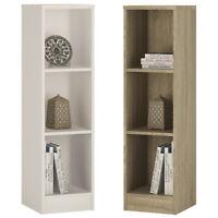 Crescita Medium Narrow Bookcase in Oak or White Living Display Cabinet Bedroom