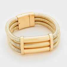 HOT Statement Celeb Gold 3 Layered Magnetic Bracelet By Rocks Boutique