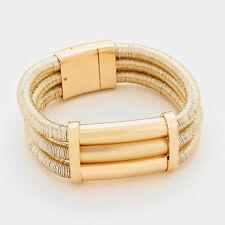HOT Statement Celeb Gold 3 Layered Magnetic Bracelet By Rocks Boutique