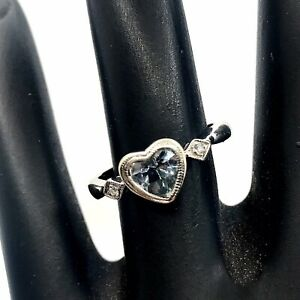 WOMEN'S 14K SOLID WHITE GOLD AQUAMARINE AND DIAMOND RING HEART SHAPED SIZE 5