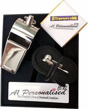 PERSONALISED ENGRAVED STAINLESS STEEL REFEREE WHISTLE & GIFT BOX FREE ENGRAVING