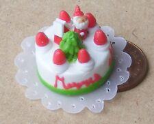1:12 scala Natale torta con glassa Bianca & Santa Casa Bambole Miniatura HT