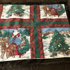 Vintage Santa Holiday Christmas Pillow Sham Case Red 26.5x32 Sleigh Winter