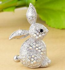 #P940C New Rabbit Bunny Pin Brooch Iridescent AB Crystal Love Animal Party Gift