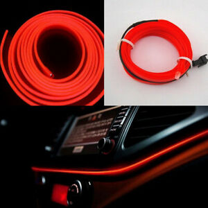 2M LED Red Car Interior Decorative Atmosphere Lamp Wire Strip Light Accessories