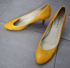 ORiental Traffic Snake Python Asymmetrical Heels Pumps Mustard Orange 40 41 9 10
