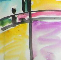 "JOSE TRUJILLO ORIGINAL Watercolor Painting Abstract Minimalist 6x6"" SMALL SIGNED"