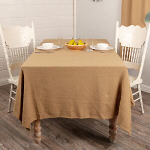 "VHC Brands Farmhouse 60""x102"" Table Cloth Tan Thanksgiving Kitchen Table Decor"