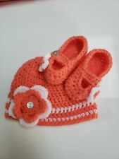 Baby girl Hat and Booties, 0-3 month, coral and white Shoes Set, photo prop