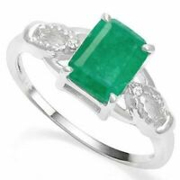 Genuine Emerald Sterling Silver Ring with Diamonds Size 7 1.23ct