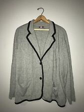 Vince Camuto Cardigan Size 2X Stretch Knit Blazer Style Gray Button Pockets Wool