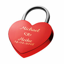Heart Love Lock Engraved Red Top Gift Idea with Engraving on both sides