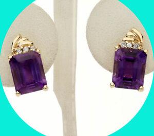 """6.66CT! Diamond amethyst earrings 14K YG round brilliant emerald cut 4.6GM 5/8""""L"""