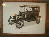 Antico Quadro AUTO D'EPOCA - FORD 1908 Modello T 37x27 cm + Storia