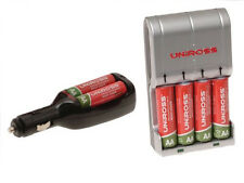 Uniross Easy Battery Charger with 4 AA Batteries + Ultra Fast Car Charger