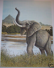 """""""Bull Elephant"""" by Christine Marshall Limited Edition ARP Lithograph #10/25"""