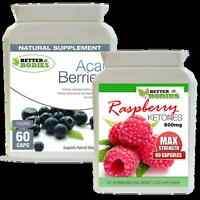 60 STRONG Strength Raspberry Ketone 600mg + 60 Acai Berry Combo Pack Diet Pills