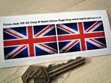Union Jack Bandera Sucio & Faded Auto Moto pegatinas 50mm Par Gb Reino Unido Casco