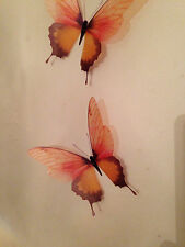 4 Orange in Flight 3D Butterflies Wall Mounted Butterfly Art Home Accessories