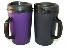 2 Foam Insulated 34 oz ThermoServ Mugs Black & Purple