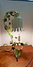 Vintage Tin Tulip Shaped Lamp With Flowers And Candlestick