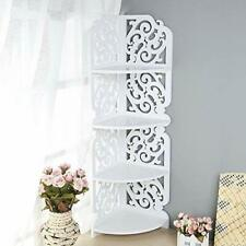 4 Tier White Wood Corner Shelving Unit Home Art Decor Display Shelf Bathroom