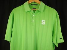 TIGER WOODS NIKE DRI-FIT STANFORD CARDINAL NCAA TEAM MENS POLO SHIRT GREEN L