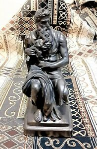 Michelangelo Style Moses w Tablet of Stone Bronze Tone Statue Painted Plaster