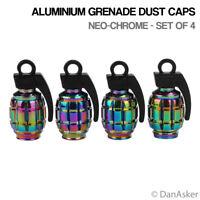 4x Neo-Chrome Grenade Car Bike Motorcycle BMX Wheel Tyre Valve Metal Dust Caps