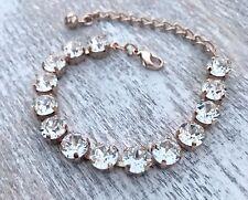 Crystal Bracelet Rose Gold Plate Made W/ Swarovski Elements White Clear Diamond