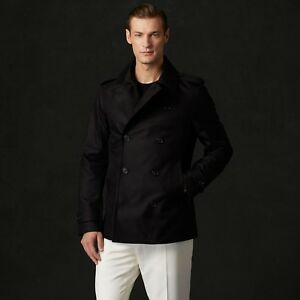Ralph Lauren Purple Label Black Moto Officers Peacoat Pea Coat Jacket XL 2XL