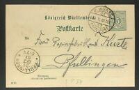 Württemberg Ganzsache - Bahnpost nach Pfullingen 1901