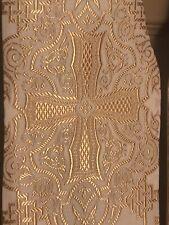 Heavy Satin Brocade Clergy Stole Metallic Gold On WhIte Celtic Cross & Knot