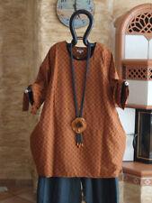 1840 LABASS Lagenlook Big Shirt Ballonform terra schwarz kariert Gr. XL 48 50